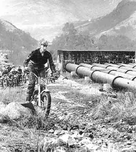Dick Walker riding Scottish trial 1970